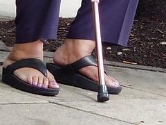 Mature slinks lotion on soles