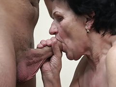 Grannie enticed by nasty youthfull man!