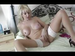 Blonde milf has epic wank in white stockings