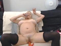 Jiggish mature platinum-blonde with large fleshy cupcakes jack