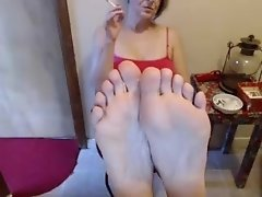 54 year old mature woman show her bare feet