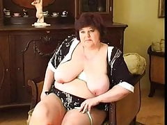 2 Fat granny' with obese bowels dildos added to fingers thither pussy