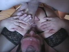 Collective wifey Gets shaft, hubby Gets facial cumshot