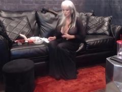 Sloppy conversing blondie female dom domina Sally with fat fun bags