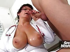 Chubby uniform lady Danica jerking off big dick