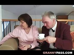 Bosomy beamy Granny Has sexual connection in the air Grandpa