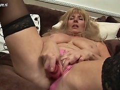 Buxom british granny with giant saggy breasts