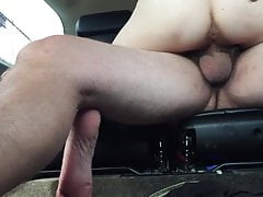 Dark-haired wifey pounds stranger in truck dirty seconds