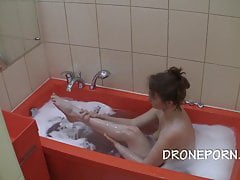 Czech cougar in the tub - covert spy camera