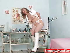 Lousy old mom in practical nurse uniform wild masturbation