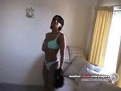 Amateur Native Indian girl striptease masturbation toy