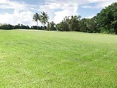 My wifey plays golf trio - public course