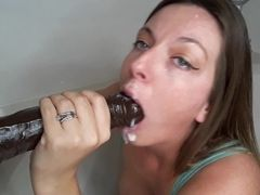 Plaything probing - big black cock drizzling faux-cock