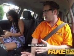 Faux Driving college Posh hotwifey wifey with excellent titties has noisy ejaculations