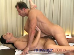 Massage Rooms MILF hairy pussy gets stretched and creamed on by big dick