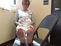 Blonde Granny Retired Feet Soles