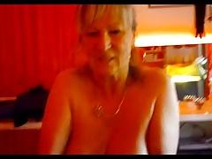 Granny hanging tits handjob