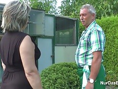 German Grandpa and Grandma fuck Hard in Garden