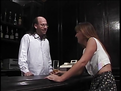 Mature brunette sucks hairy bartenders hard pole then gets fucked