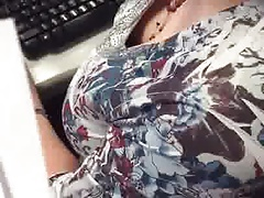 Office granny cleavage
