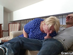 Picking up and fucking blonde granny from behind