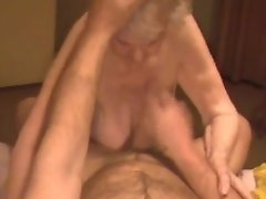 Cumshot on granny saggy tits with 85yo
