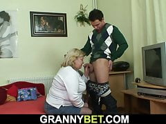 Big-boobs age-old granny added to lad