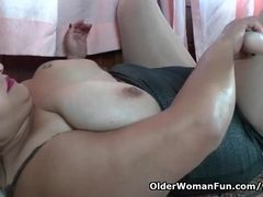 Latina plus-size cougar Carmen puts her fucktoy bevy to fine use