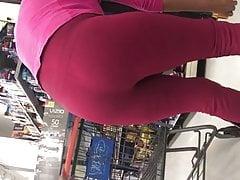 Mature Latina bony stretch pants taunting vpl g-string