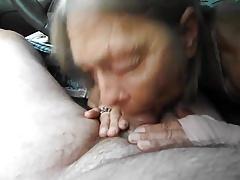 Granny's Blowjob in the Car