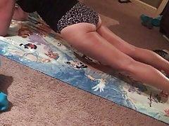 Gilf cougar wifey Jan doing yoga in ebony undies