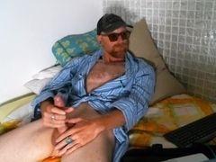 Solo ginger masculine in bathrobe masterbation and spunk