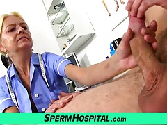 Skinny granny Vera big dick hospital handjob