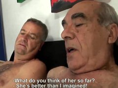 Lucky old grandpa is fucking this sweet wife with her husband...