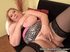 European plumper cougar Dita works her poon with frigs and faux-cock
