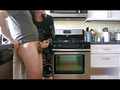 Good morning mom's handjob in the kitchen