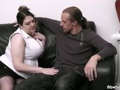 Wifey finds him boning plumper on the sofa