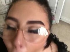 Messy blowjob overage connected with slutty housewife?��s glasses camouflaged connected with cum