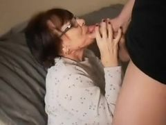 Mature mega-slut throating A youthful guy
