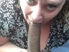 Plumper fellating big black cock on lunch break