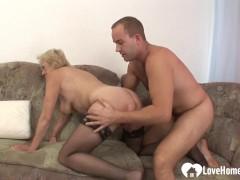 Sugary ash-blonde grandmother takes his furious sausage