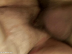 Grannies ass fucked and creampied by two sons