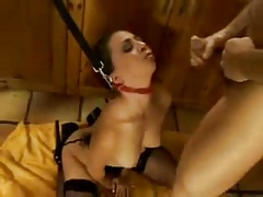 Young wife bound and takes several facials