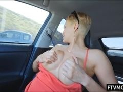 Light-haired cougar in public