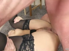 GERMAN furry cougar ANS stocking ravaged AND facial cumshot BY junior
