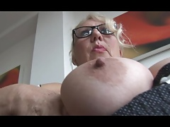Mature English secretary with massive tits stripping