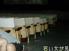 A Japnese young wife in a cinema