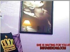 Fishnet MILF teases on webcam
