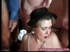 Gangbang narrate Granny loves BBC totting up adult orgy
