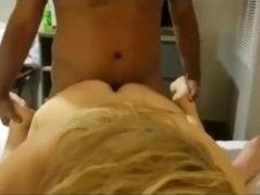 Mature blondie cougar gets splitroasted with big black cock